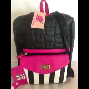 Luv Betsy 2 for 1 quilted kitty striped Backpack